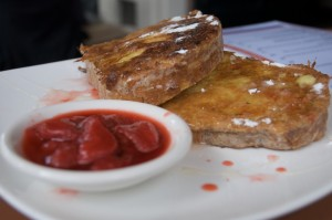 French toast with strawberry jam