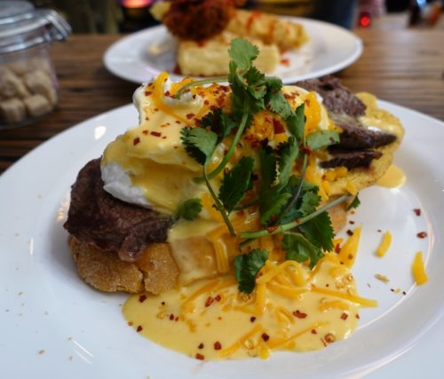 Steak and eggs at the Breakfast Club, Haarlemmerplein