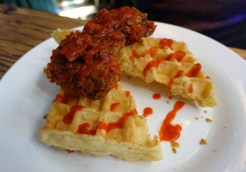 Very crunchy chicken and waffles