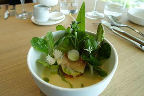 Vichyssoise with Dutch herring, asparagus and pea shoots