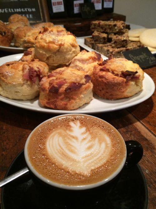 Flat whites and scones at Wellington Coffee