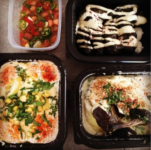 Hummus, aubergine and other goodies from De Hummus House - delivered by Thuisbezorgd