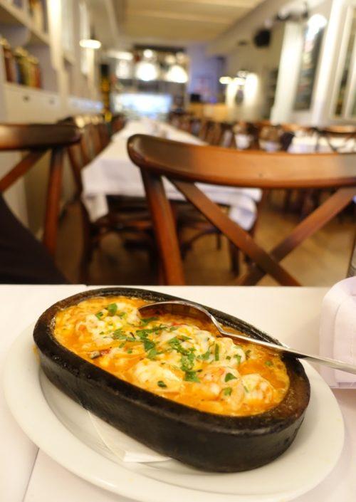 Bubblingly cheesy shrimps at Aliye Mehane