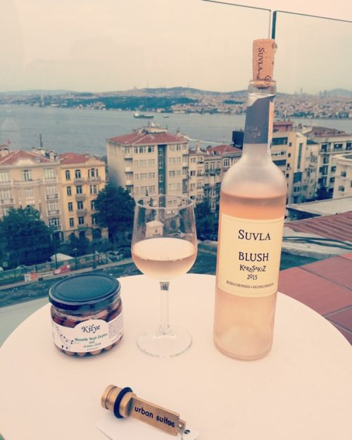 A chilled bottle of Suvla Blush overlooking the Bosphorous from Urban Suites