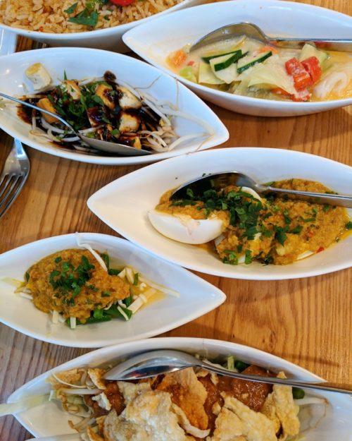 Indonesian rijsttafel at restaurant Blauw, Amsterdam