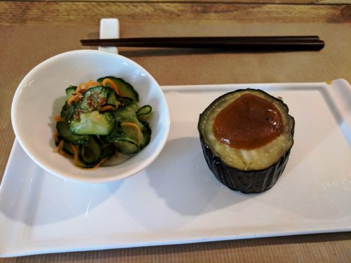 Men Impossible's starter of miso-dipped aubergine