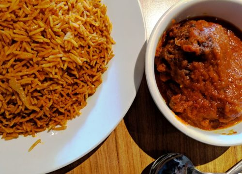 African Kitchen Amsterdam - jollof rice and chicken