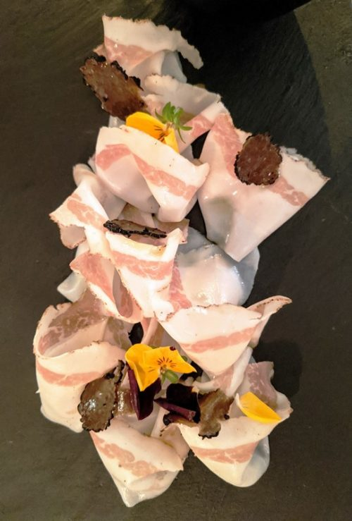 Lardo di colonnata with truffle at Agliojazz